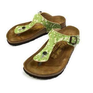 Birkenstock Papillio Green Floral Gizeh Sandals 40
